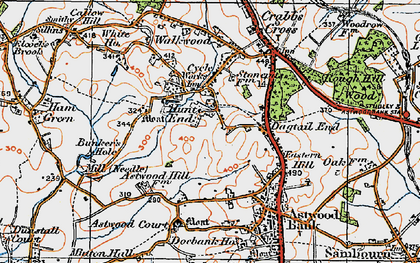 Old map of Astwood Court in 1919