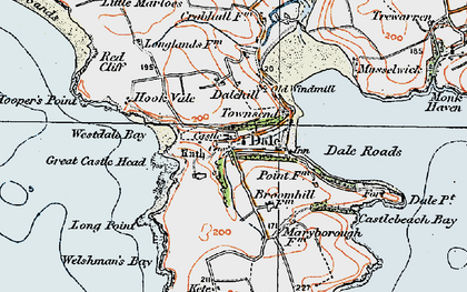 Old map of Dale in 1922