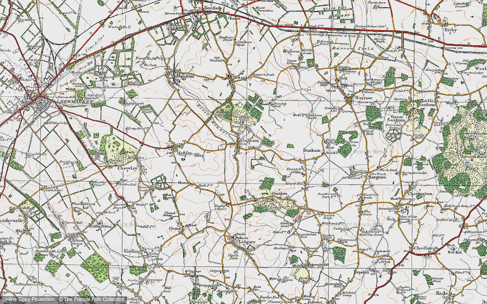 Old Map of Historic Map covering Leipsic Wood in 1921