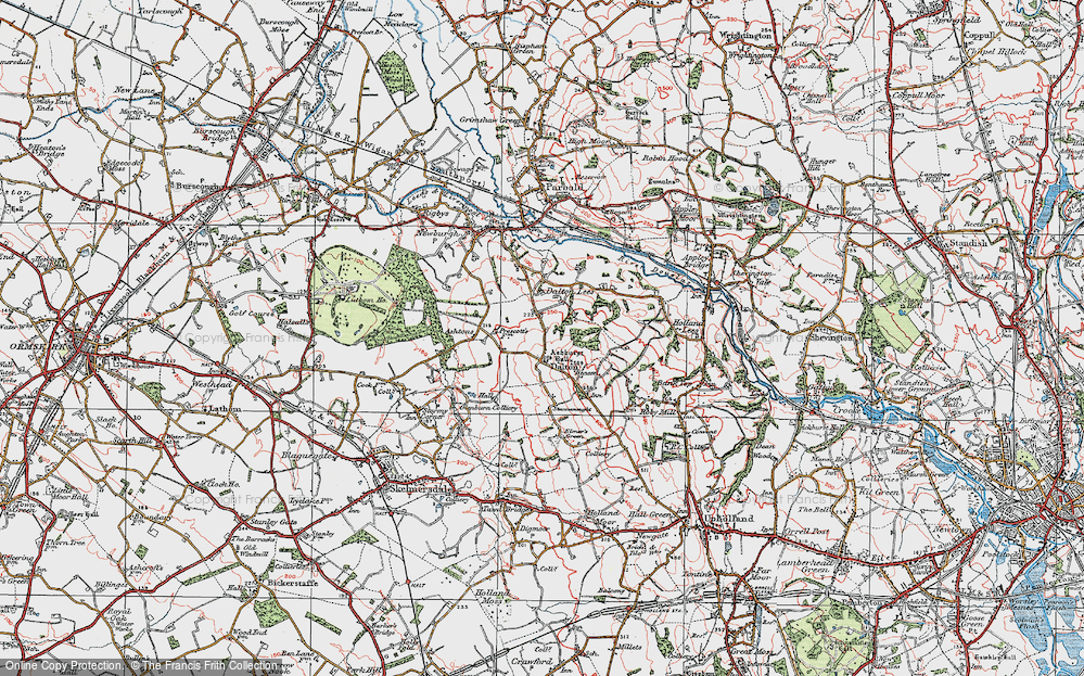 Old Map of Historic Map covering Ashurst's Hall in 1923