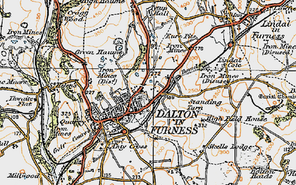 Old map of Dalton-In-Furness in 1925