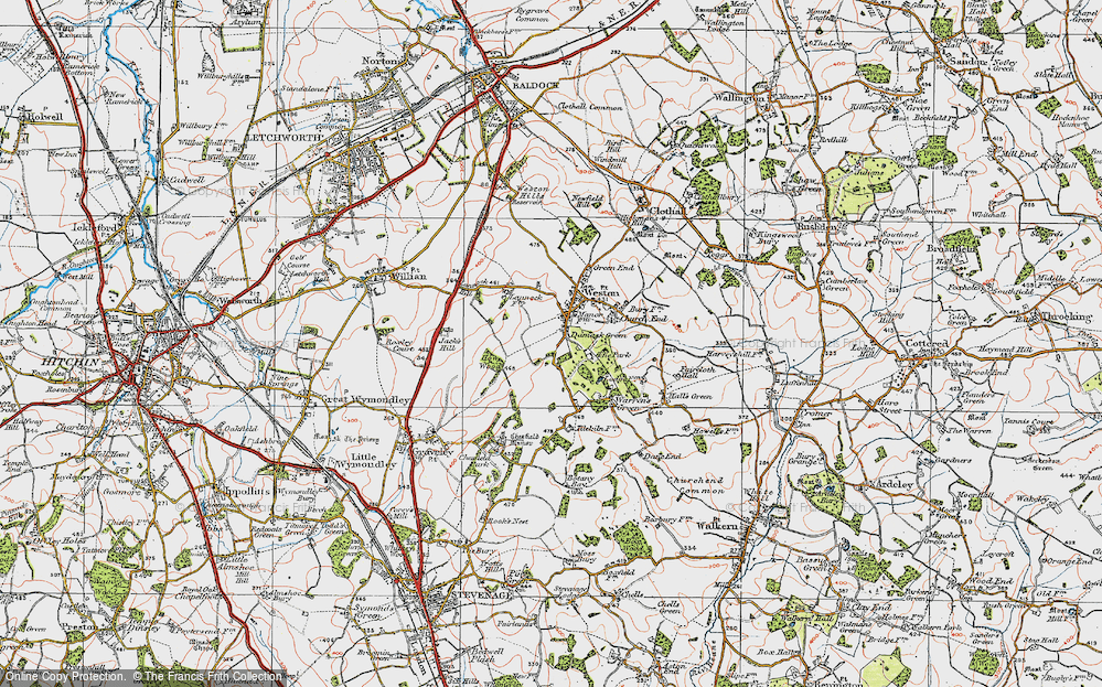 Old Map of Historic Map covering Lannock Hill in 1919