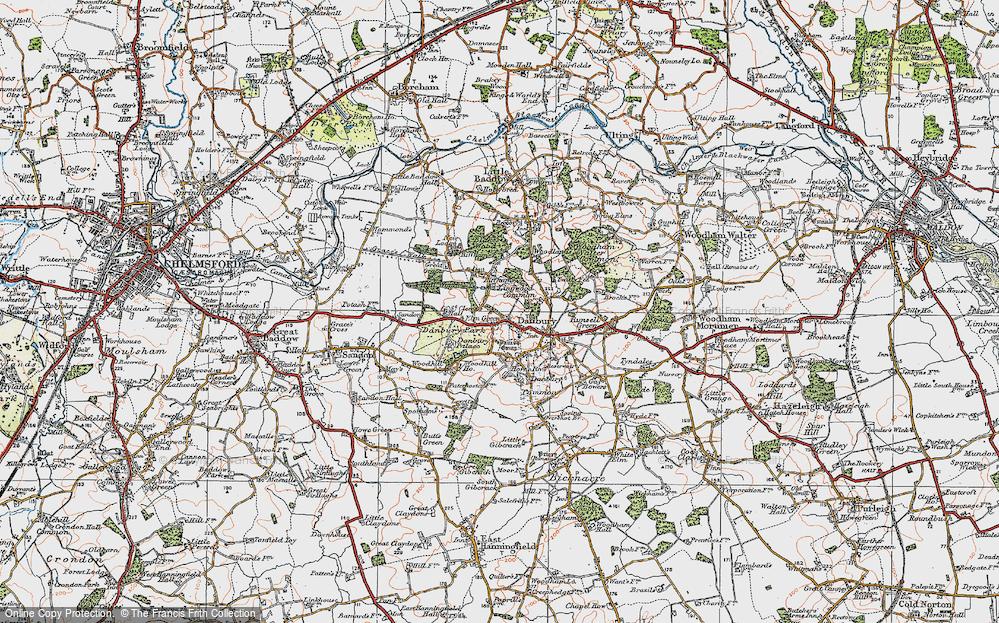 Old Map of Danbury, 1921 in 1921