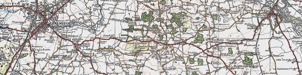 Old map of Danbury in 1921