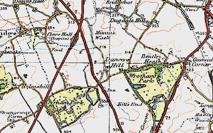 Old map of Dancers Hill in 1920