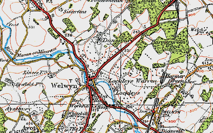 Old map of Danesbury in 1920
