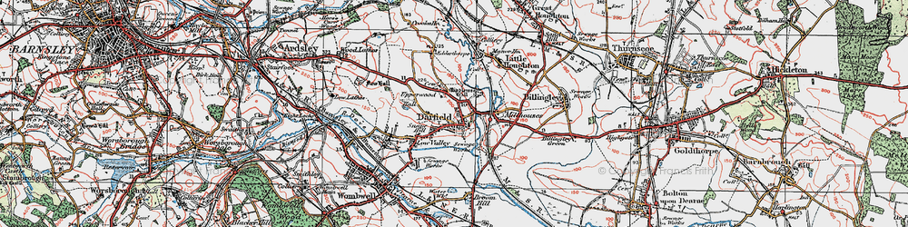 Old map of Darfield in 1924