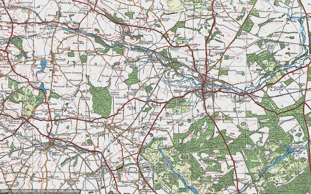 Old Map of Historic Map covering Worksop Manor in 1923