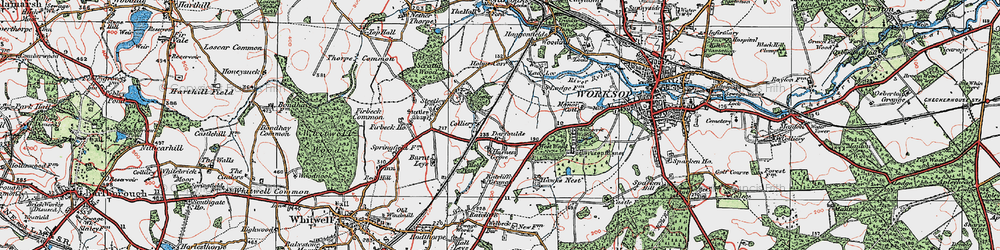 Old map of Worksop Manor in 1923