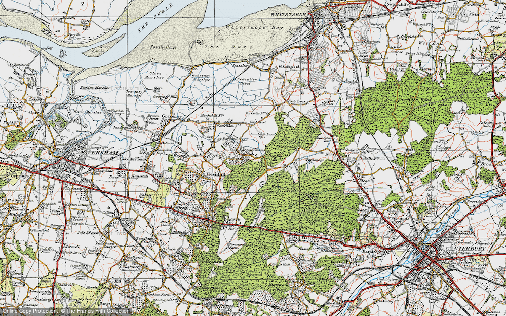Old Map of Historic Map covering Acorn Cott in 1921