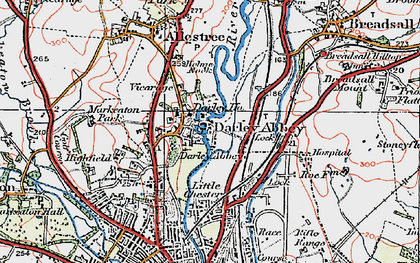 Old map of Darley Abbey in 1921