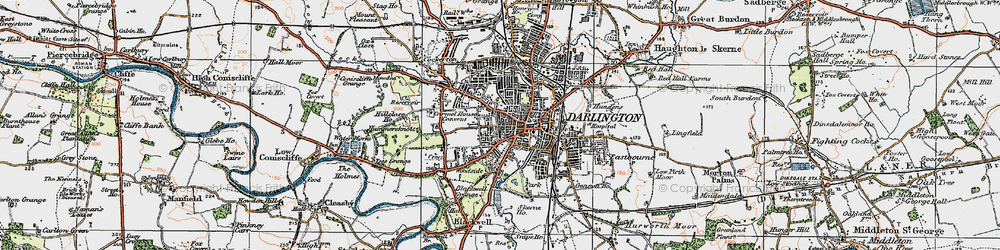 Old map of Darlington in 1925
