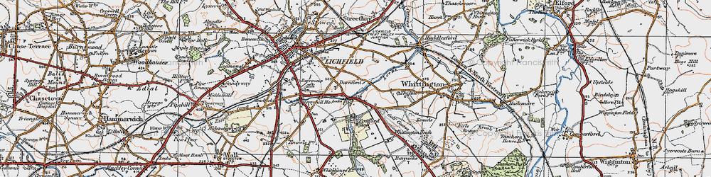 Old map of Whittington Heath in 1921