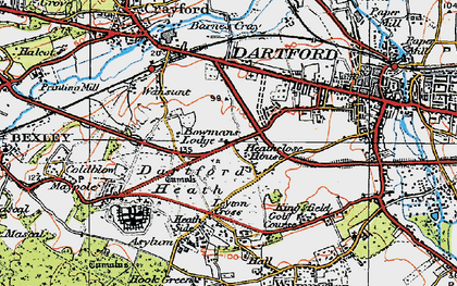 Old map of Dartford in 1920