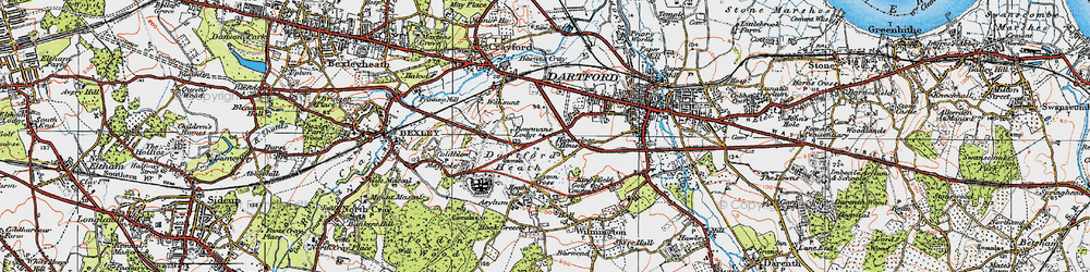 Old map of Dartford in 1920