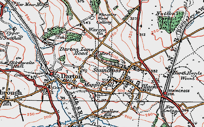 Old map of Darton in 1924
