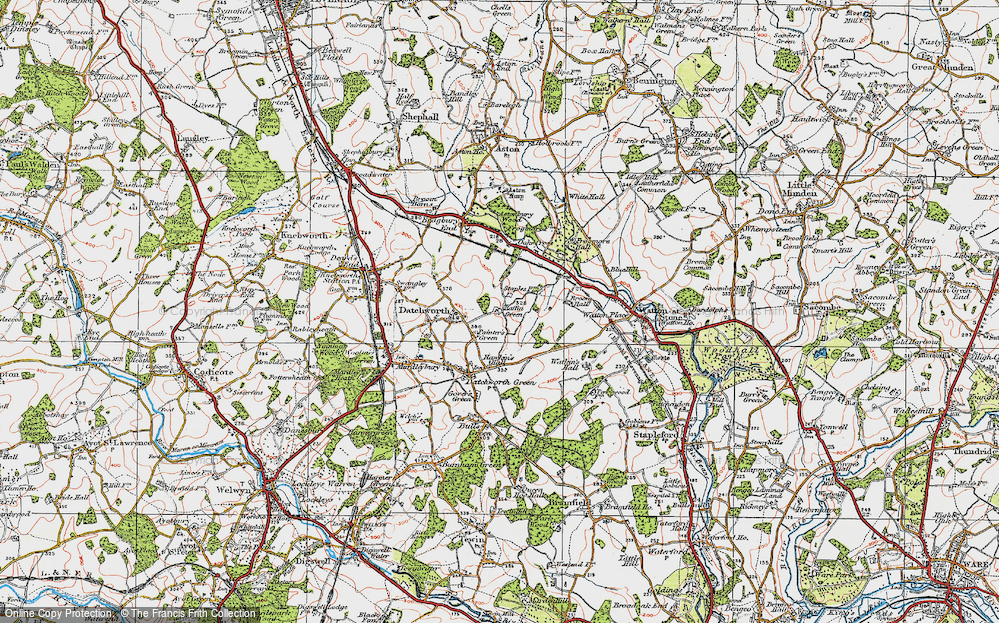 Old Map of Datchworth, 1920 in 1920