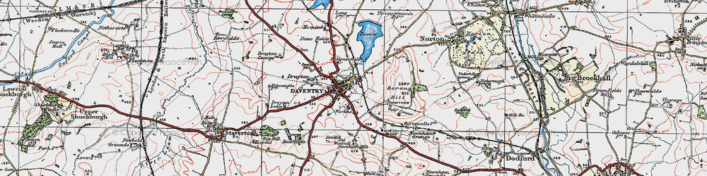 Old map of Daventry in 1919