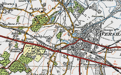 Old map of Davington in 1921
