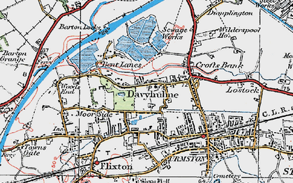 Old map of Davyhulme in 1924