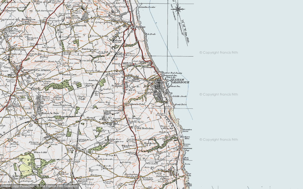 Old Map of Dawdon, 1925 in 1925