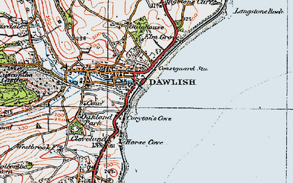 Old map of Dawlish in 1919