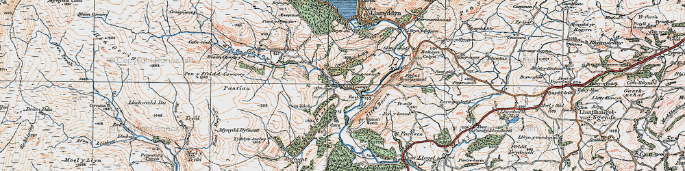 Old map of Afon Cownwy in 1921