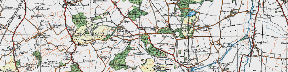 Old map of Appley Corner in 1919