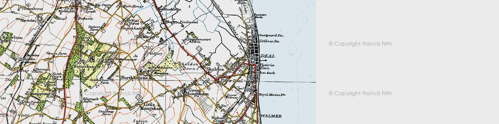 Old map of Deal in 1920