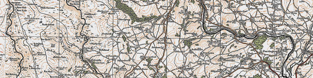 Old map of Dean Prior in 1919