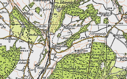 Old map of Idsworth in 1919