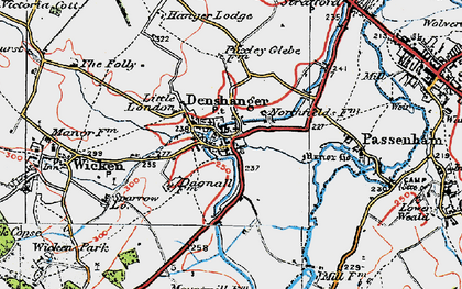 Old map of Deanshanger in 1919