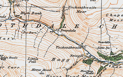 Old map of Langstrothdale Chase in 1925