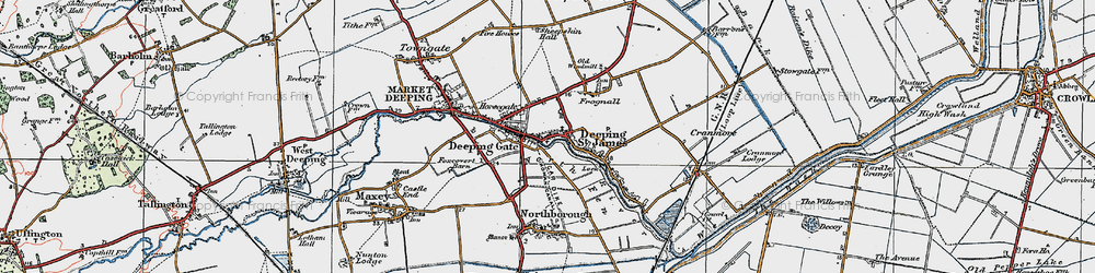 Old map of Deeping St James in 1922