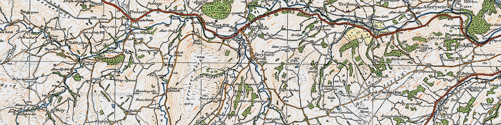 Old map of Abersenny in 1923