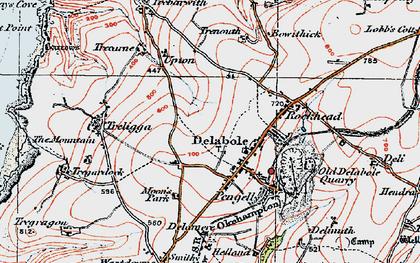 Old map of Delabole in 1919