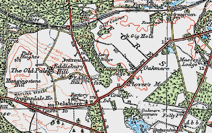 Old map of Delamere in 1923
