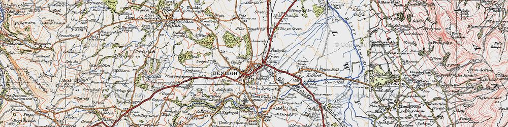 Old map of Denbigh in 1922