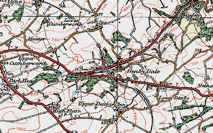 Old map of Denby Dale in 1924