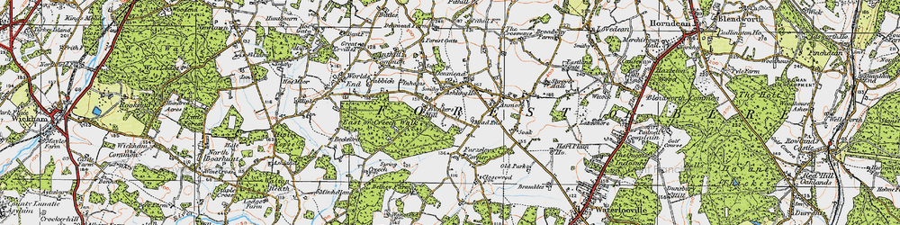 Old map of Denmead in 1919