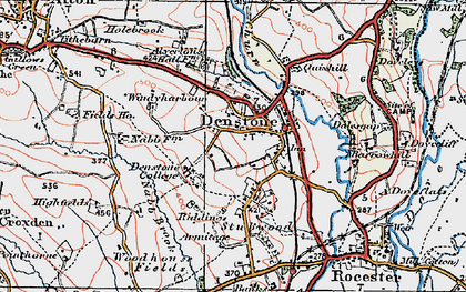 Old map of Denstone in 1921