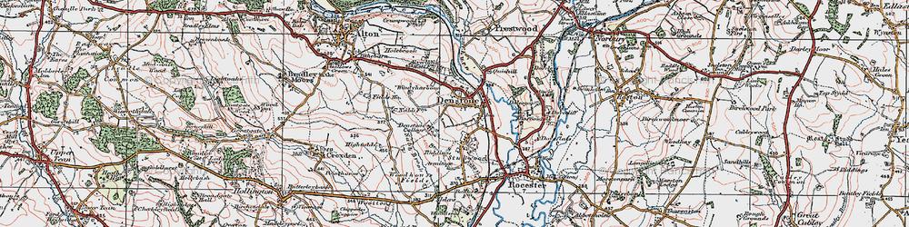 Old map of Denstone in 1921