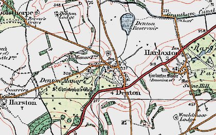 Old map of Denton in 1921