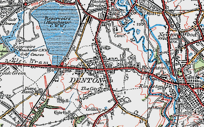 Old map of Denton in 1924
