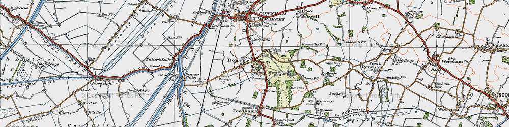 Old map of Whin Common in 1922