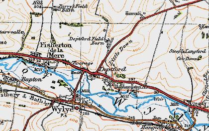 Old map of Yarnbury Castle in 1919