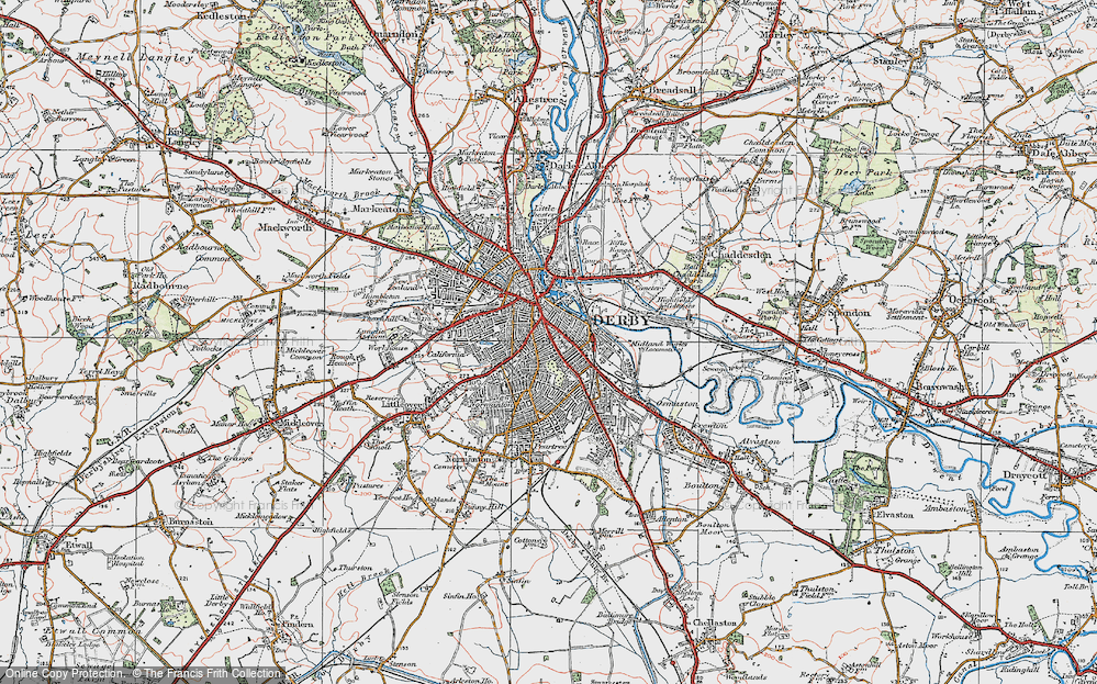 Old Map of Derby, 1921 in 1921