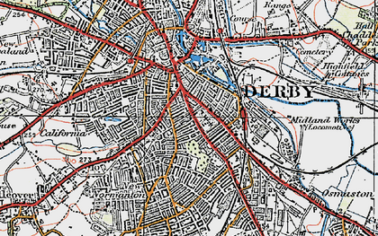 Old map of Derby in 1921