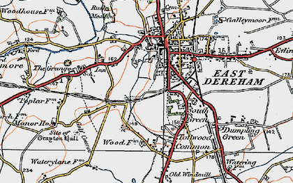 Old map of Dereham in 1921