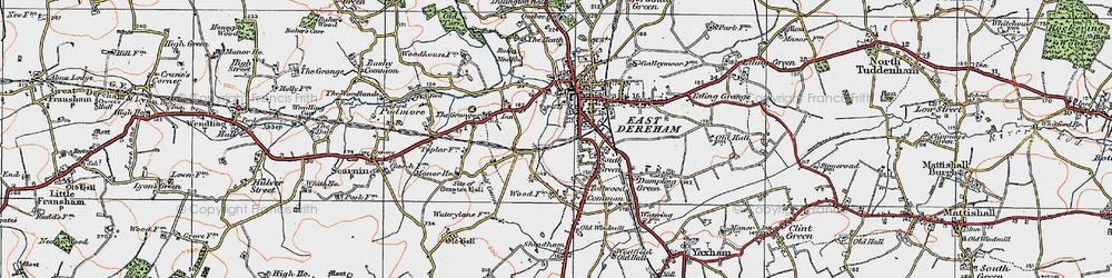 Old map of Dereham in 1921
